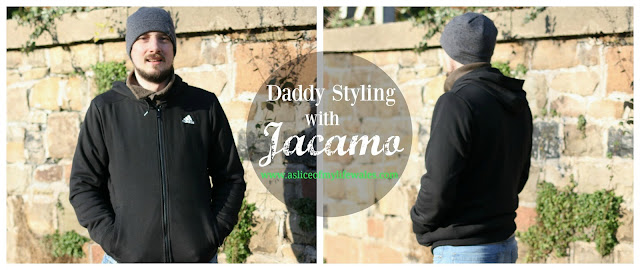 daddy styling with Jacamo - he wears black adidas zip up hoody with jeans and hat