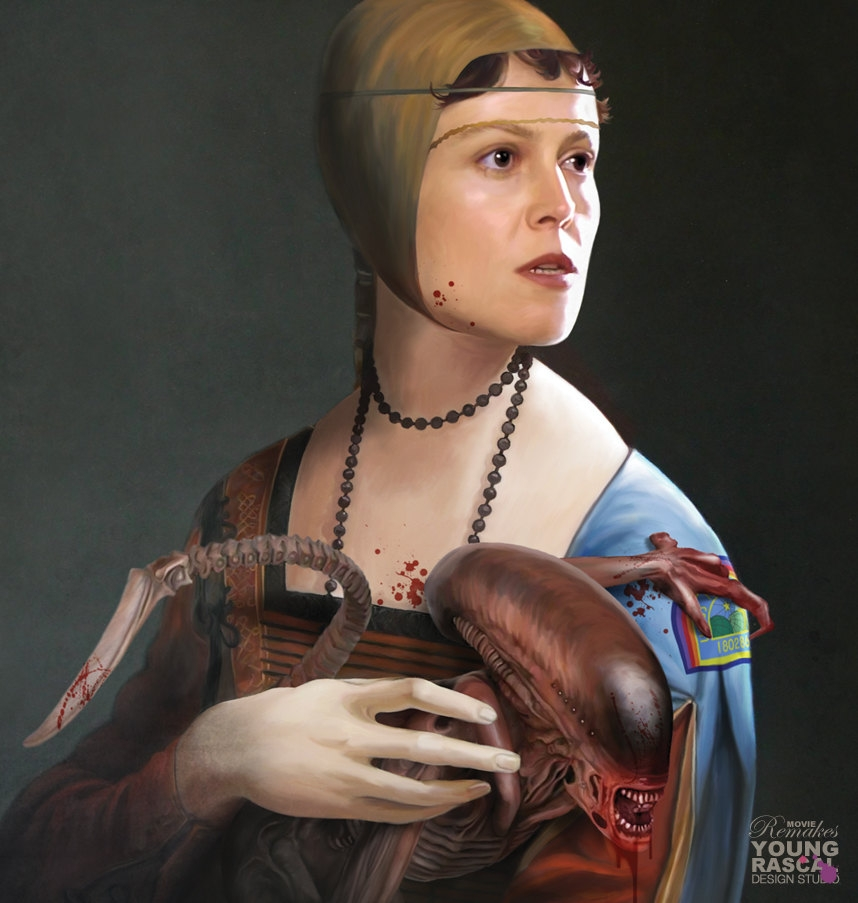 01-A-lady-with-an-Ermine-Sigourney-Weaver-Alien-Richard-Kingston-Old-Masters-Paintings-with-a-Science-fiction-Twist-www-designstack-co