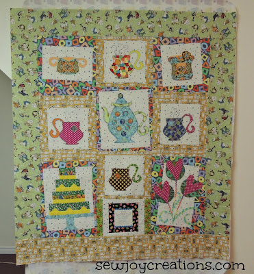 madhatter tea party quilt applique tea cup quilt Pat Sloan