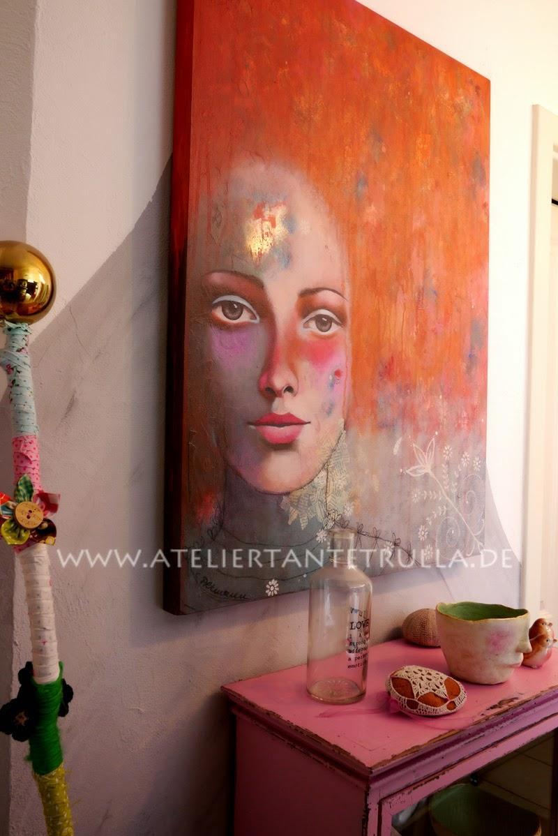 atelier tante trulla verkauft original gem lde mit gesicht lilly kaufen. Black Bedroom Furniture Sets. Home Design Ideas