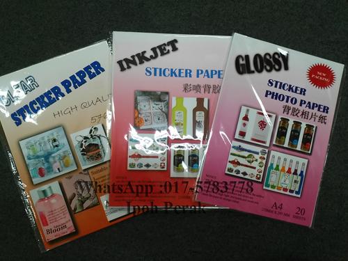 Clear sticker paper inkjet sticker paper glossy sticker paper ipoh perak malaysia