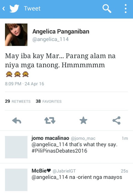 Angelica Panganiban delivers a mysterious message saying that the Final Presidential Debate 2016 was biased to Mar Roxas! Read This!