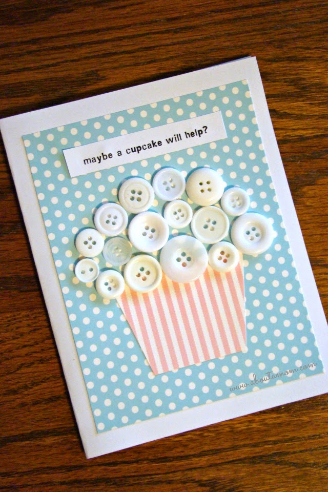 button craft greeting card #buttons #crafts