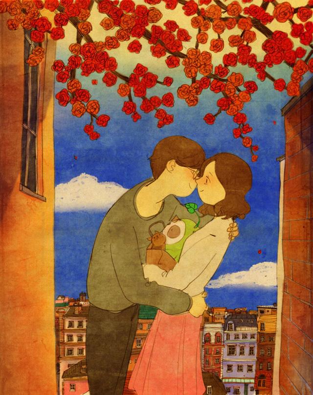 Aşk öpücük için eğilmektir