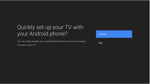 Android TV setup with prompt to continue on the user's phone.