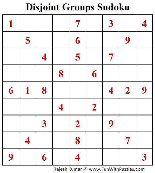 Disjoint Groups Sudoku Puzzles (Fun With Sudoku #261)