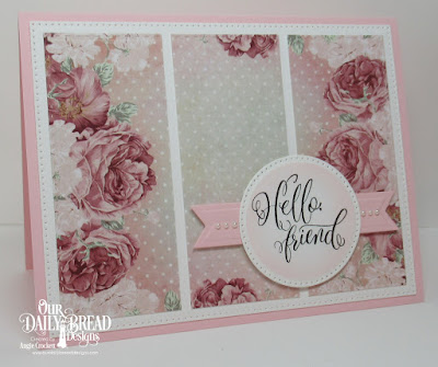 ODBD Hello Friend, ODBD Romantic Roses Paper Collection, ODBD Custom Double Stitched Rectangles Dies, ODBD Custom Pierced Rectangles Dies, ODBD Custom Pierced Circles Dies, ODBD Custom Pennant Flags Dies, Card Designer Angie Crockett