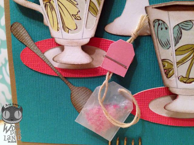 tea, tea party, handmade, paper crafts, card, handmade card, macarons, vintage, distress ink, spoons, teacups, scrapbooking
