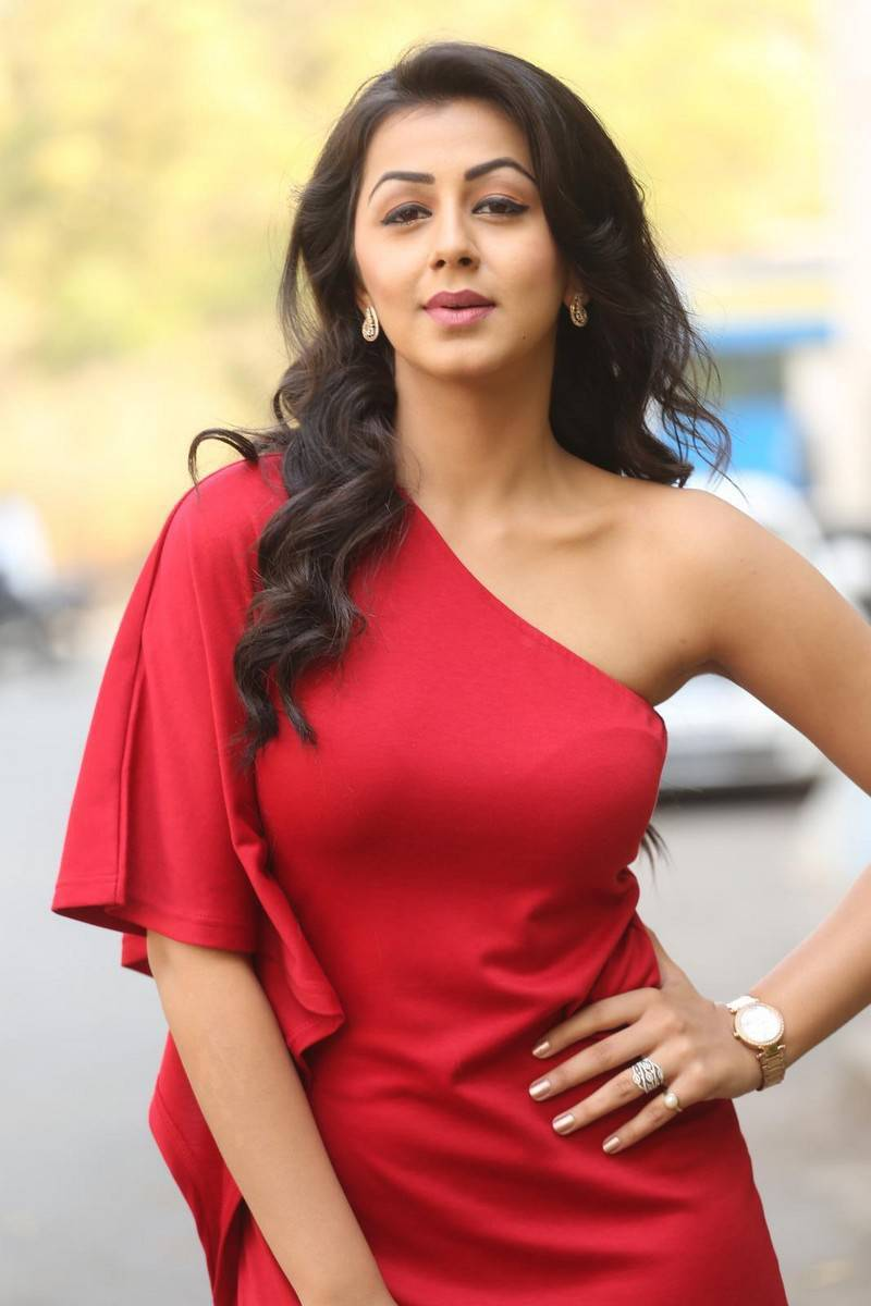 Nikki Galrani Stills Latest Photoshoot In Red Dress