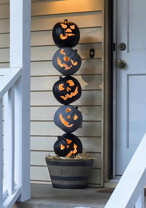 lighted outdoor halloween pumpkin topiary