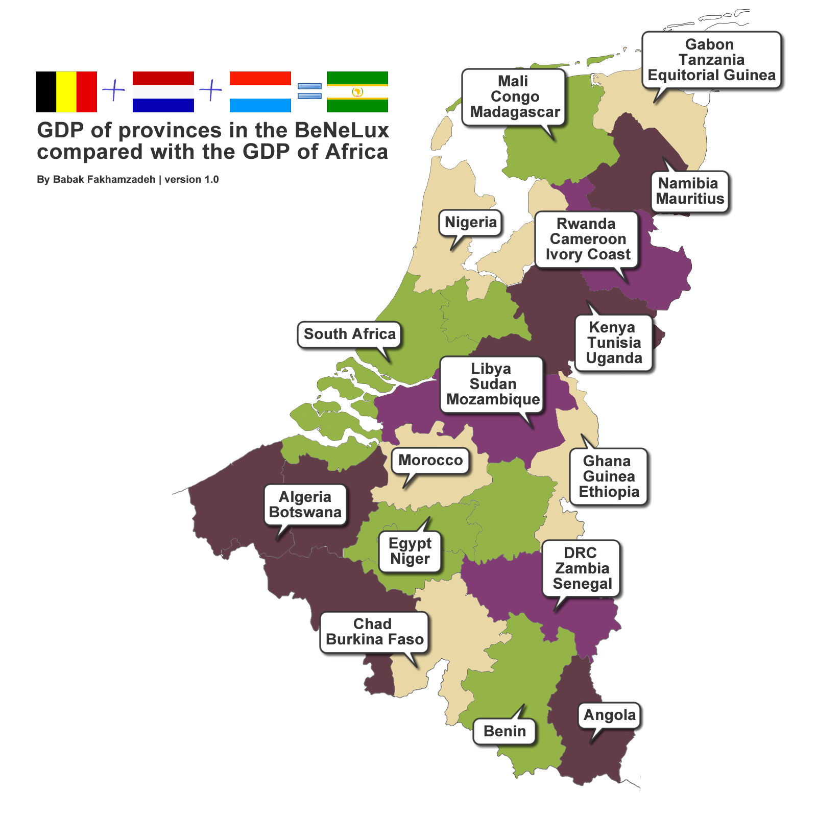 GDP of provinces in the Benelux compared with the GDP of Africa