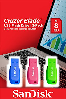 wholesale price SanDisk Cruzer Blade, 8GB Flash Drive USB 2.0, 3 pack, only pay £9.99