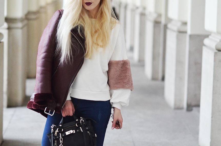 BLUZA Z FUTRZANYMI RĘKAWAMI + BORDOWA KURTKA / fur sleeve sweatshirt + burgundy jacket