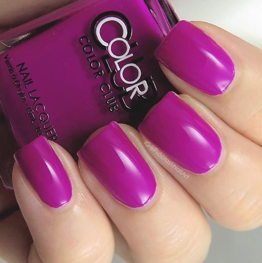 Neon purple creme nail polish