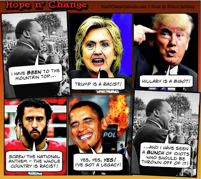 obama, obama jokes, political, humor, cartoon, conservative, hope n' change, hope and change, stilton jarlsberg, hillary, trump, kaepernek, legacy, MLK, mountain top, race, racism,
