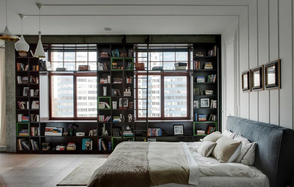 black-coloured-white-outer-bookshelf-unique-accent-walls