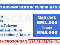 JAWATAN KOSONG GURU TABIKA / TASKA / TUTOR TERKINI 2017 - 374 KEKOSONGAN / GAJI RM1,000.00 - RM5,000.00