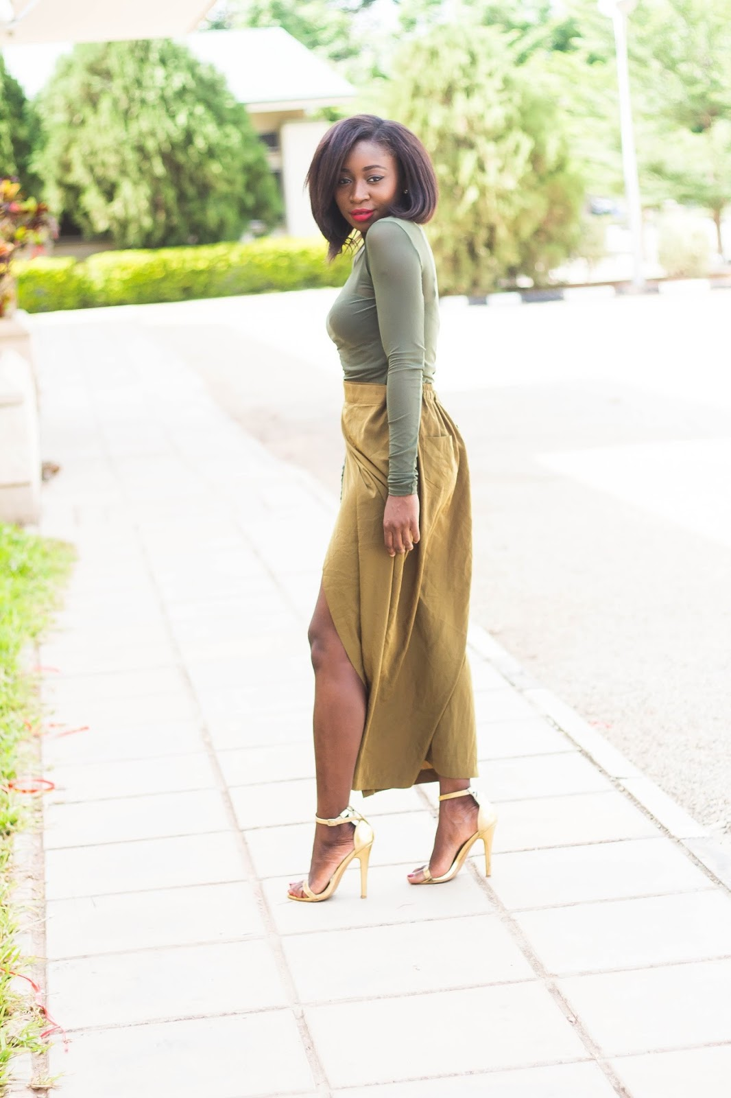 khaki and olive green outfit