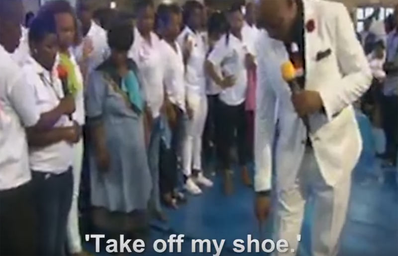 Pastor heals woman suffering from viganial warts with his shoe (video)