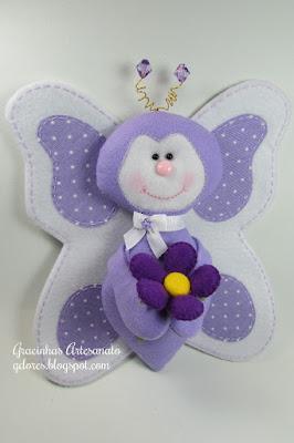 "alt=""borboleta em feltro molde"""
