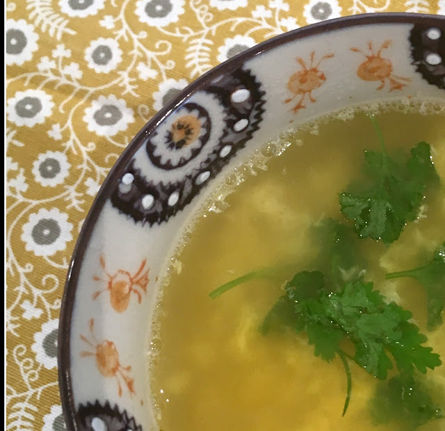 cream colored low calorie soup with herbs