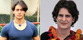 priyanka gandhi and tiger shroff, priyanka gandhi look alike, tiger shroff look alike