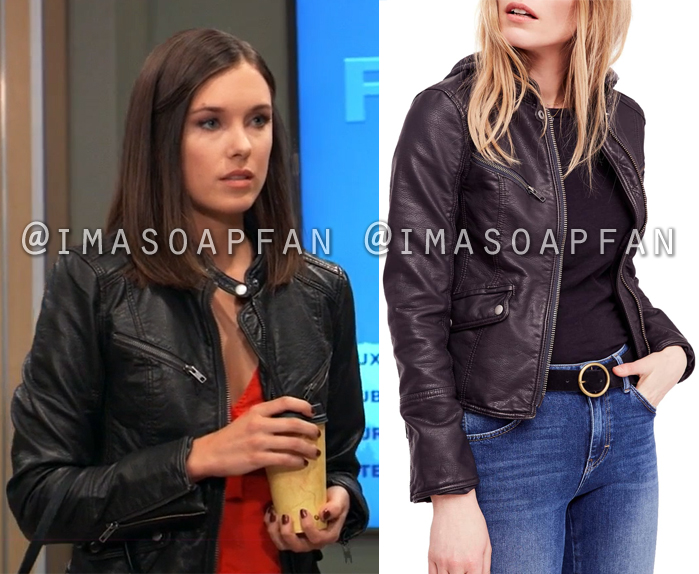 Willow Tait, Katelyn MacMullen, Black Faux Leather Moto Jacket, General Hospital, GH
