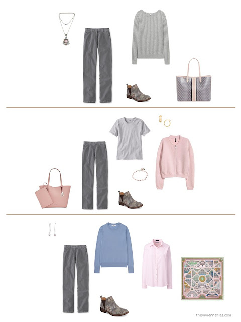 three ways to wear grey corduroy pants from a capsule wardrobe