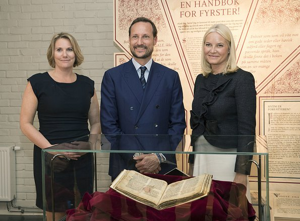 Crown Princess Mette Marit attended opening of an exhibition. Princess Mette Marit wore Prada Jacket and Christian Louboutin Simple Pump