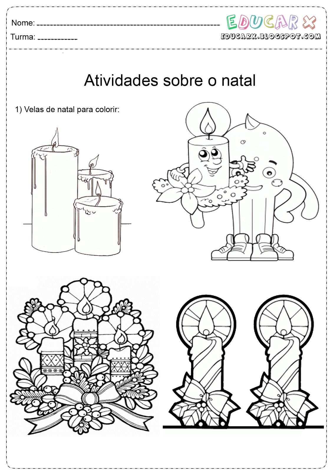 Educar X Velas De Natal Para Colorir E Imprimir