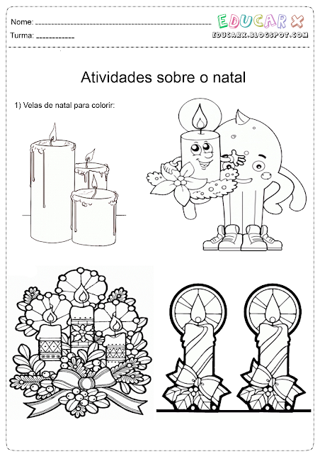 Velas de natal para colorir e imprimir