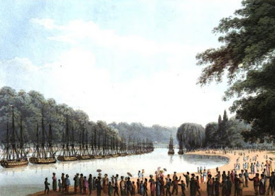 The Fleet on the Serpentine River on 1 August 1814  from An Historical Memento by E Orme (1814)