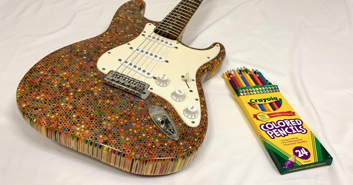 Artist Sculpts A Unique Electric Guitar Body From 1,200 Colored Pencils