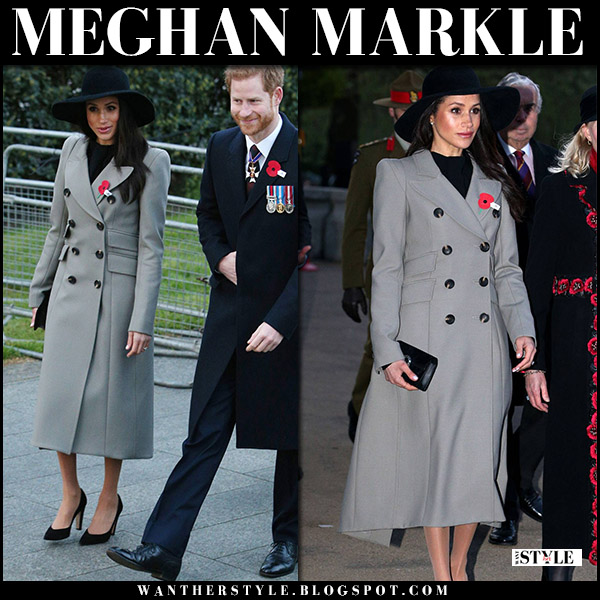 Meghan Markle in grey double breasted coat smythe pagoda and black shoes royal family fashion april 25