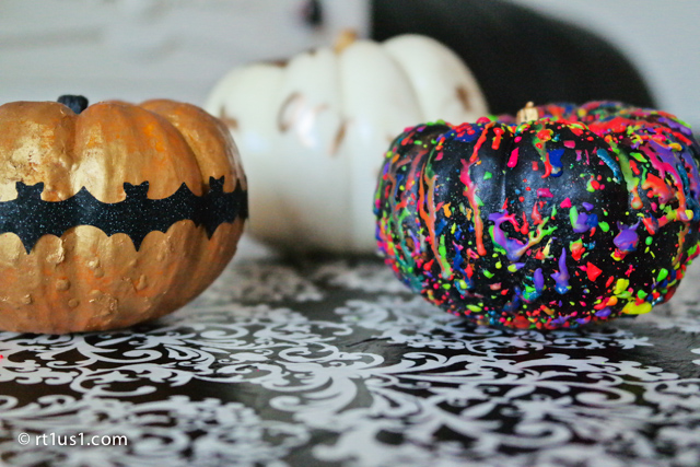 Using crayons and Gold Leaf to decorate pumpkins