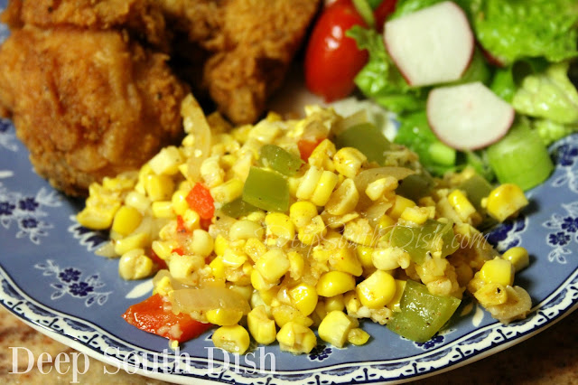 A mixture of fresh corn, cut from the cob, sauteed with Vidalia onion, sweet and hot peppers, and finished with southwestern seasonings.
