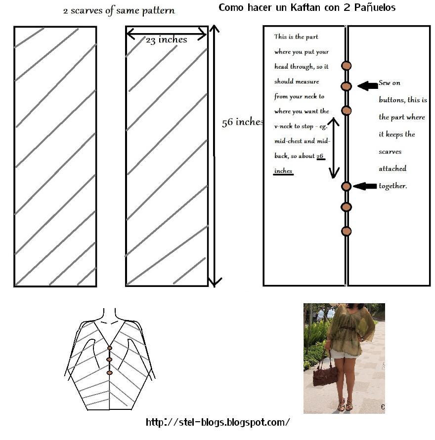 kaftan, prendas, moda, bricomoda, patrón, costura, kimono