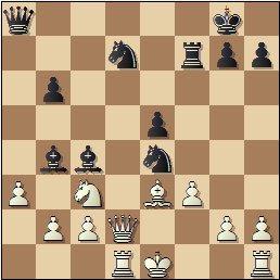 Partida de ajedrez Juncosa-Golmayo, posición después de 17…Cxe4!