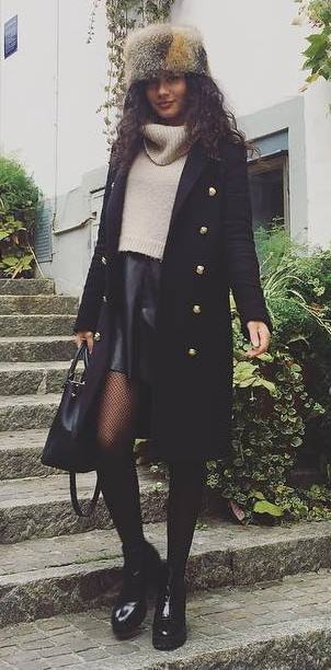 what to wear with a fur hat : coat + bag + boots + nude sweater + leather skirt