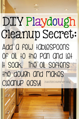 how to clean up play dough, how to clean playdoh, homemade play dough