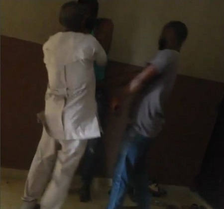 Drama as Angry Father Storms UNIZIK to Beat up His Daughter's Abusive Boyfriend (Photos)