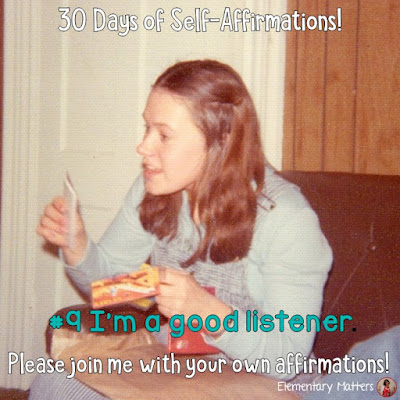 "30 Days of Self-Affirmations: Day 9:  I'm a good listener. For 30 days, I will be celebrating my own ""new year"" with self-affirmations. Won't you join me? http://bit.ly/2xBeYqh"
