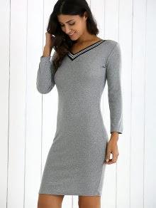 Zaful Gray V Neck Sweater Dress