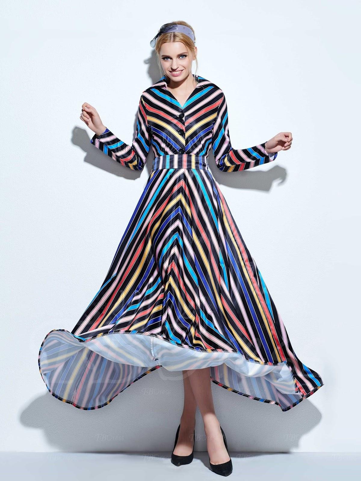 Lapel Floor-Length Vintage Women's Long Sleeve Dress