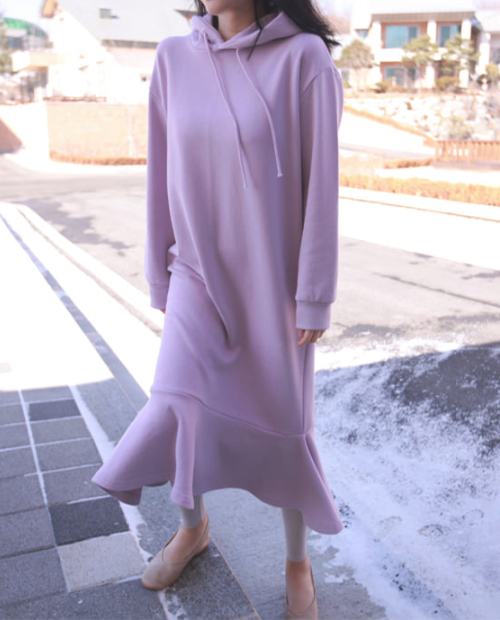 Flounce Hem Hoodie Dress