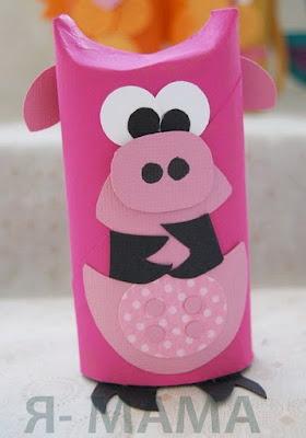 свинка из туалетного рулона