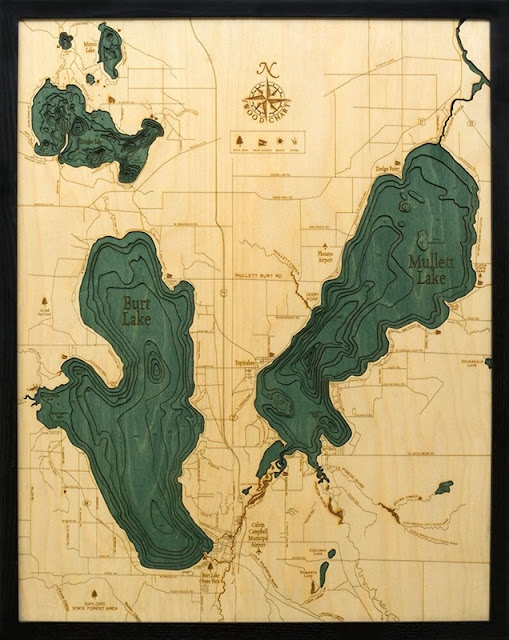 Carved Wood Maps of Mullet and Burt Lakes in Michigan