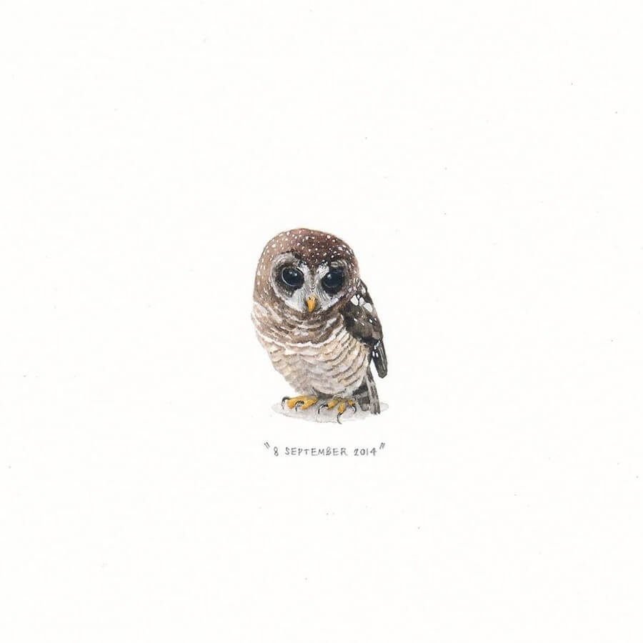 11-Sweet-Owl-Lorraine-Loots-Tiny-Art-www-designstack-co