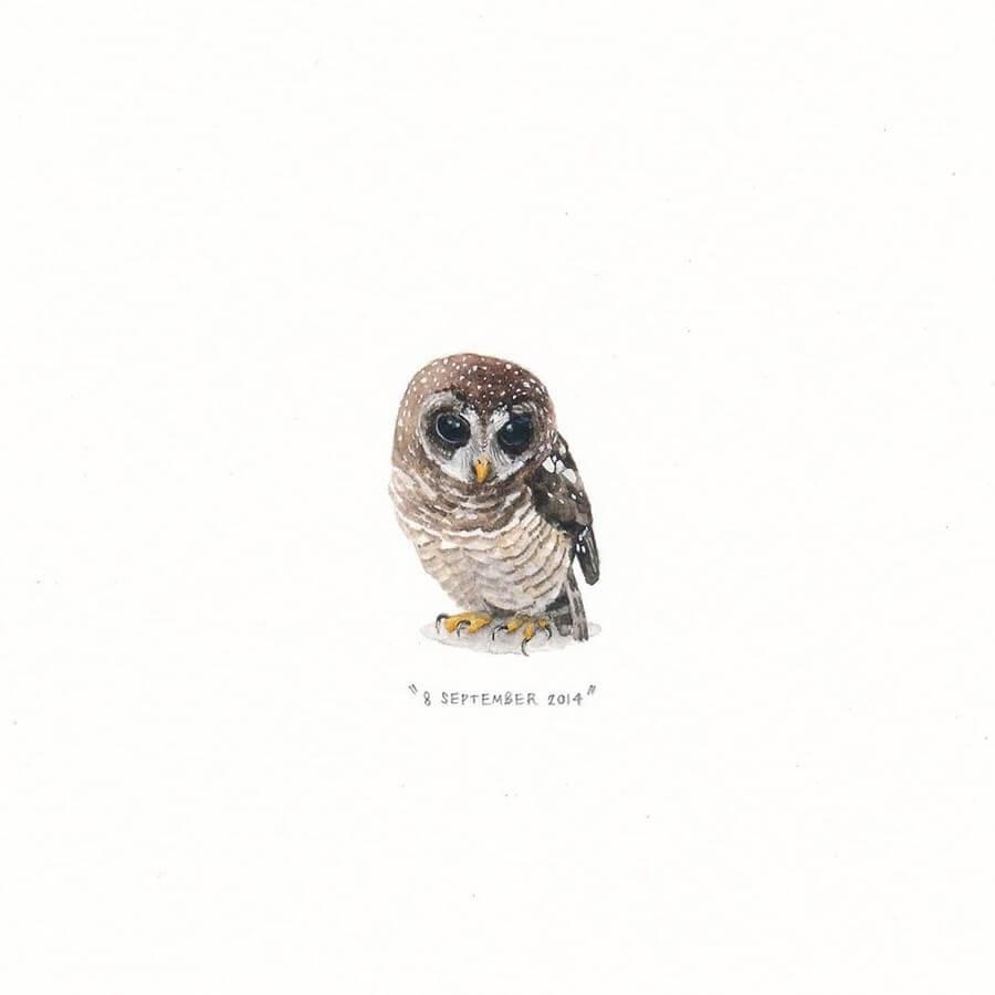 11-Sweet-Owl-Lorraine-Loots-Tiny-Art-www-designstack-co