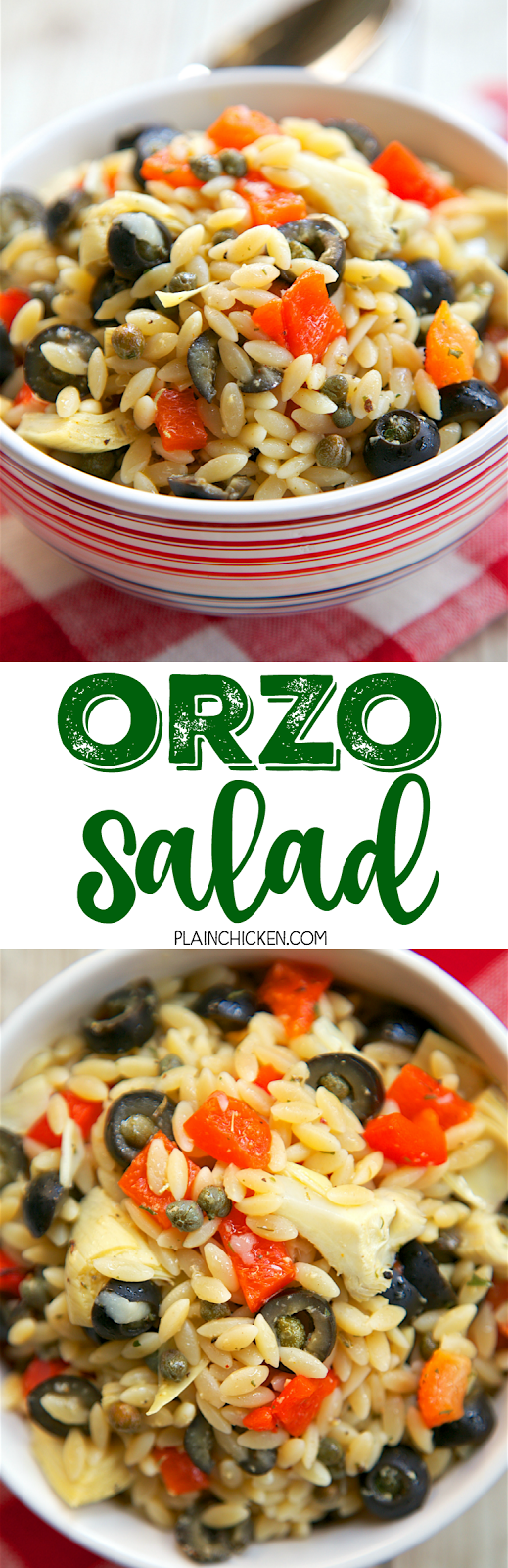 Orzo Salad - orzo, roasted red peppers, artichoke hearts, capers, black olives tossed in a quick lemon olive oil dressing. Can serve warm or cold. This is SO good!! It gets better the longer it sits. Great for cookouts and tailgates!